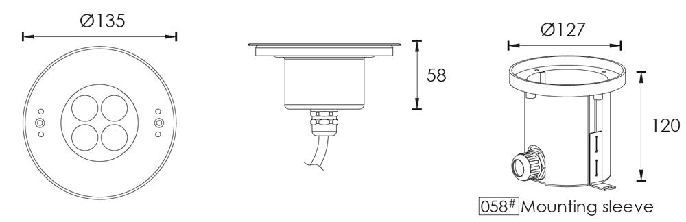 IP68 LED Pool Lights C4XC0457 C4XC0418 Dimensional Drawing(units:mm)