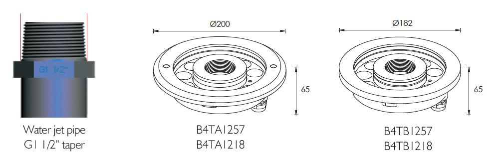 B4TA1257 B4TA1218 LED Fountain light dimensional drawing (units:mm)