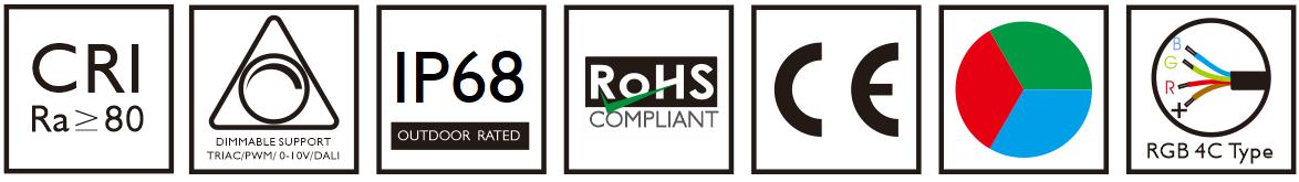 RGB led fountain light CE, ROHS, RGB, DIMMABLE, CRI80+