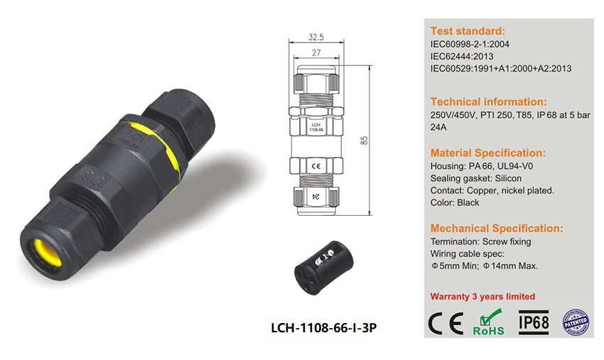 LCH-1108-66-I-3P 3pin I type IP68 waterproof connector for outdoor use