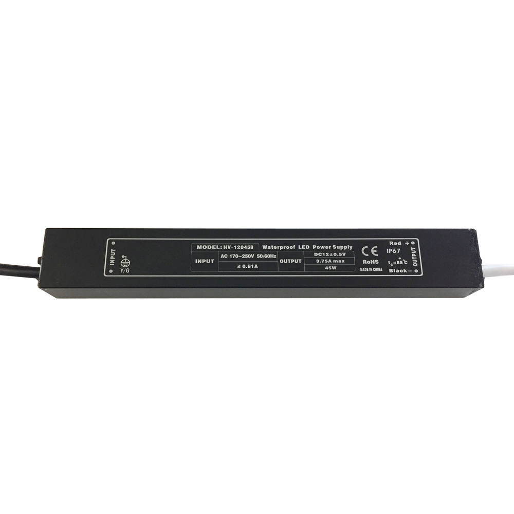 12V or 24VDC 45W Output IP67 Outdoor Waterproof LED Driver