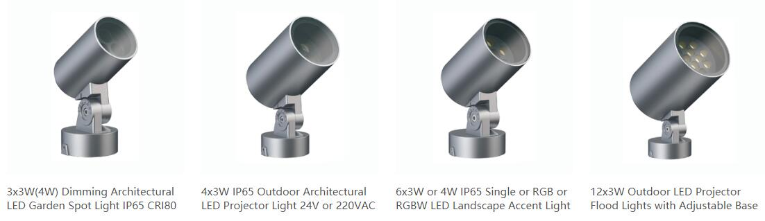 IP65 LED spot light with round base for wall or ground or ceiling surface mounted